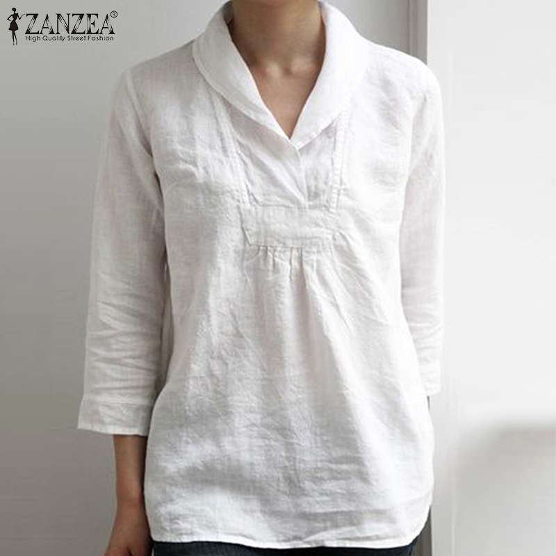 ZANZEA Elegant Women Lapel Neck Cotton Linen Shirt Summer 3/4 Sleeve Tunic Tops Casual Ladies V Neck Blusas Plus Size Blouse 5XL