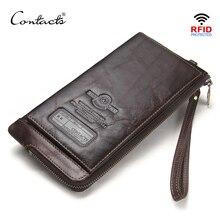 CONTACTS Bolso de mano de piel auténtica anti RFID para hombre, billetera de mano para teléfono móvil, tarjetero, bolso largo con cremallera