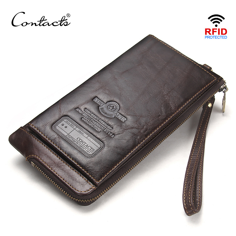 CONTACT'S Wristlet Bag Genuine Leather RFID Cellphone Wallet Men's Clutch Wallets Men Credit Card Holder Male Long Purse Zipper