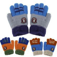 Зимние теплые Мультяшные перчатки для маленьких мальчиков, детские вязаные эластичные варежки, Зимние перчатки для малышей
