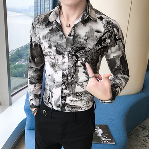 Image 3 - Korean Slim Fit Men Shirt Brand New Long Sleeve Print Mens Casual Shirts Night Club/Party/Prom Dress Shirt Male Clothing 3XL M