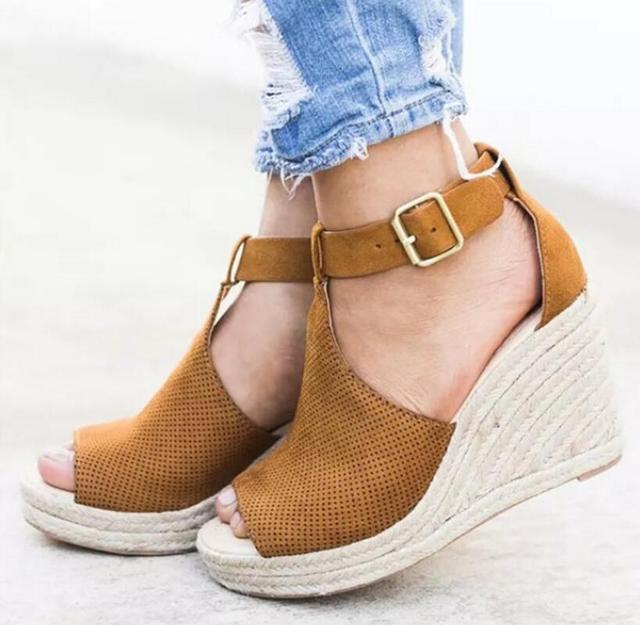 ce7256bf94c Women platform shoes summer high heels wedges sandals gladiator ladies sexy  peep toe espadrilles pumps big size zapatos mujer