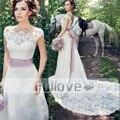Благородный Изящные Кружева Свадебное Платье 2017 Розовый Лук Пояса Vestido Де Noiva Brautkleid Свадебные Платья Принцесса Свадебные Платья Индейки