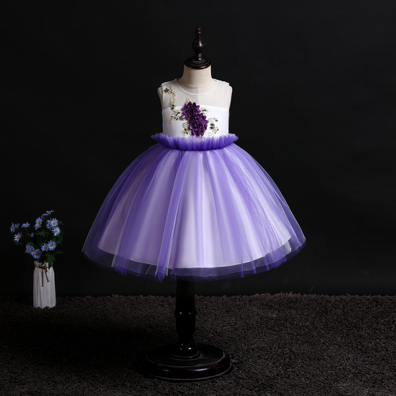 2019 new girls dress sleeveless flowers birthday party dress Europe and the United States host performance princess dress in Girls Costumes from Novelty Special Use