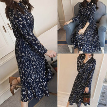 New Women Spring Summer Dress Floral Print Polyster Dress Collar Female A-Line Dress