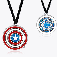 Iron Man Tony Stark Pendant Necklace Silver 925 Necklace can be ROTATE to Captain Shield Necklace for Avenger Fans
