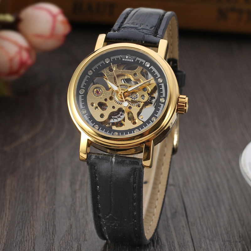 WINNER Women Luxury Brand Skeleton Genuine Leather Strap Ladies Watch Automatic Mechanical Wristwatches Gift Box Relogio Releges 2016 winner watches women lady luxury brand skeleton automatic mechanical wristwatches artificial leather band relogio feminino
