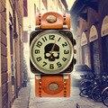 Cráneo punky de la vendimia mujeres de los relojes de los hombres reloj antiguo bronze tone cuarzo reloj retro correa de cuero