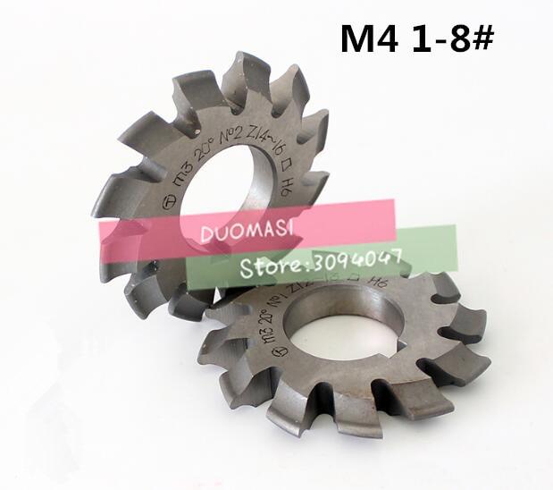 Free Shipping 1PCS M4 Modulus PA20 Degrees NO.1-NO.8 HSS Gear Milling Cutter Gear Cutting Tools