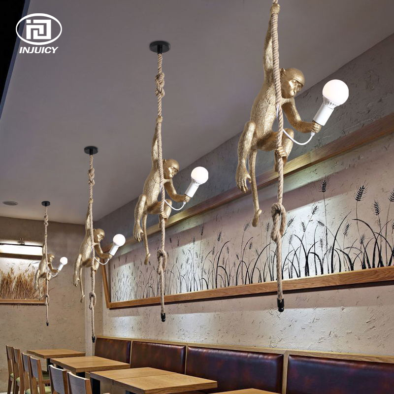 Vintage gold resin hemp rope monkey pendant lights industrial retro vintage gold resin hemp rope monkey pendant lights industrial retro e27 table lamp wall light for dining room cafe restaurant in desk lamps from lights mozeypictures Gallery