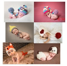 New Soft New newborn Baby Costume Photography Prop Colorful hat Infant Girl and Boy Knit Crochet