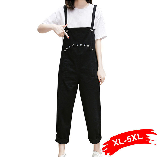64a672163bc Plus Size Hollow Out Casual Loose White Denim Overalls 4XL 5XL Silver  Eyelets Rivet Wide Leg Rompers Oversize Capris Harem Jeans