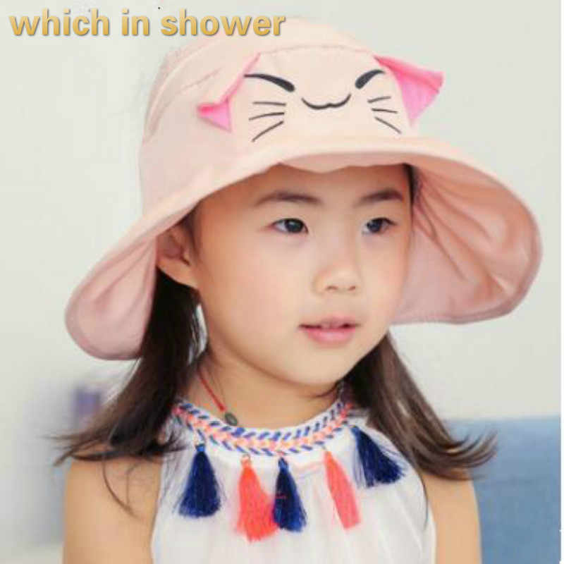 804fbe64fda26 which in shower solid cartoon cat kids sun hat outdoor summer sunscreen  beach cap wide brim