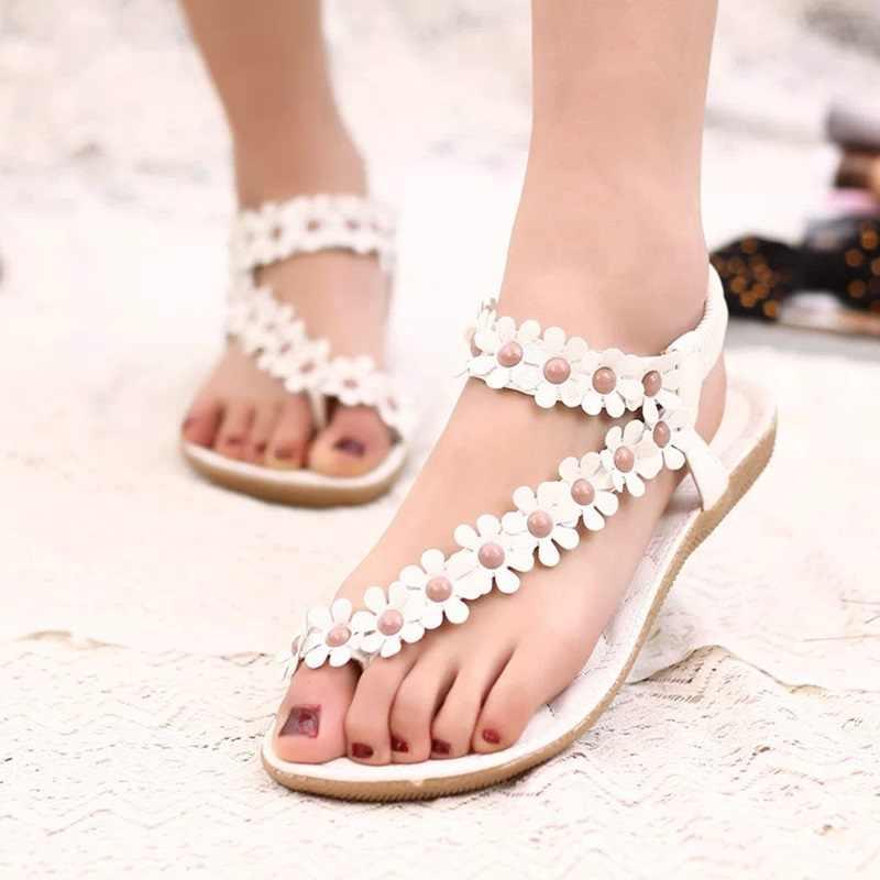 e814e24dac8 ... Bohemian Flower Flip Flops Women Sandals 2018 Summer Flat Shoes Woman  Solid Casual Ladies Sandals Fashion ...