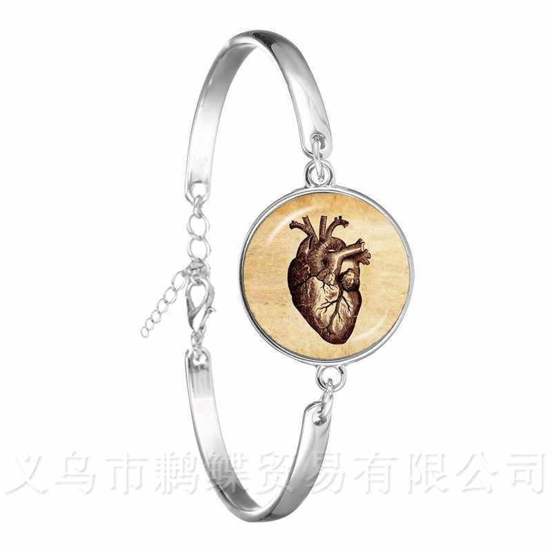 Steampunk anatomii człowieka narządów bransoletka szkło Cabochon nauka medyczna Punk łańcuch bransoletka 18mm szklana kopuła mózgu oko biżuteria