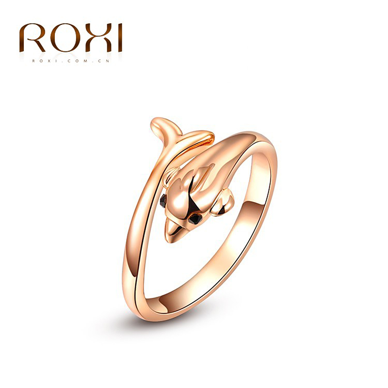 roxi new arrivals rose gold color cute dolphin ring statement rings fashion jewelry gift for women party wedding free shipping - Dolphin Wedding Rings
