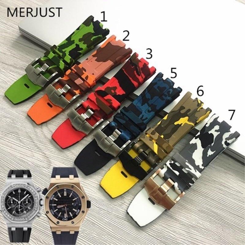 MERJUST Camo Silicone Rubber Bracelet Watch Band Camoflag 28mm Watchband For AP Strap Men Bracelet For Audemars And Piguet