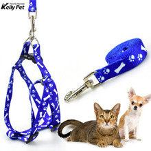 Paw Print Nylon Pet Dog Harness Vest Outdoor Walking Leash For Small Medium Dogs Colorful Puppy Cat Lead Pets Supply Good