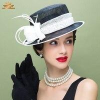 Lady Black White Fedoras Hat Girls Contrast Flat topped Jockey Hat British Church Fedoras Cap Wide Brim Cloche Hat B 8144