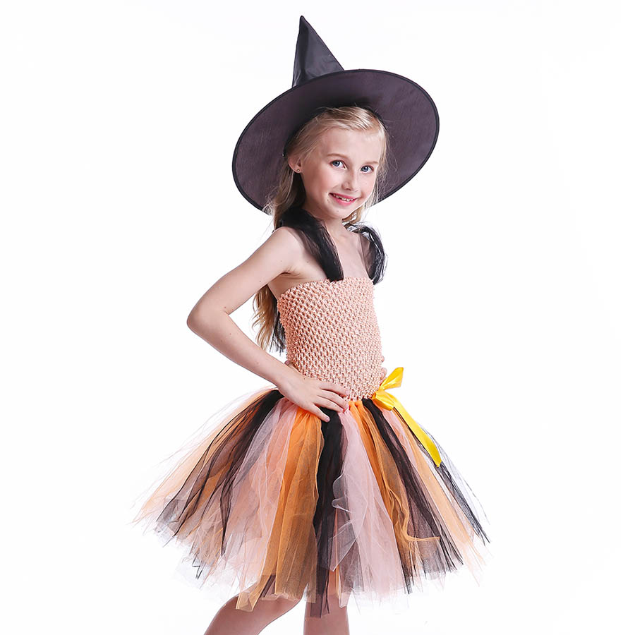 Girls Halloween Carnival Party Tutu Dress Kids Evil Witch Costume Photo Prop with Witch Hat  (6)