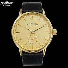 T WINNER Men Mechanical Watches Winner Brand Hand Wind Stainless Steel Leather Band Forsining Man Casual Waterproof Clock