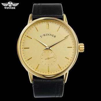 T-WINNER Men Mechanical Watches Winner Brand Hand Wind Stainless Steel Leather Band Forsining Man Casual Waterproof Clock