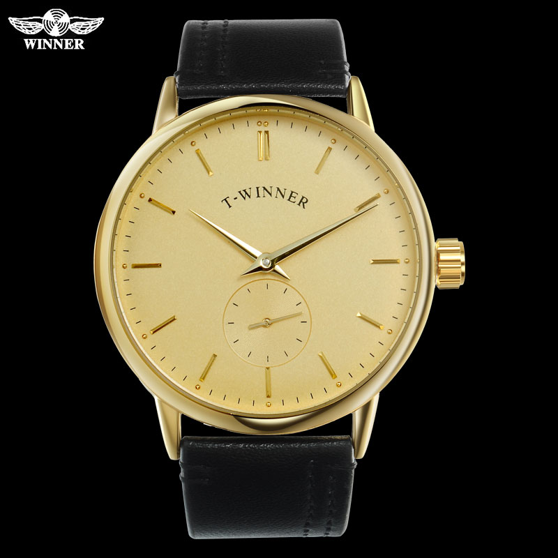 T-WINNER Men Mechanical Watches Winner Brand Hand Wind Stainless Steel Leather Band Forsining Man Casual Waterproof Clock