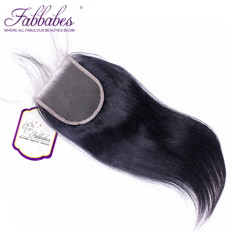 Fabbabes Malaysian Straight 4*4 Free/Middle Part Remy Human Hair Lace Closure Swiss Lace Hand Tied Natural Color Free Shipping