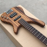 Factory Custom 4 Strings Electric Bass Guitar Rosewood Fingerboard Zebra Wood Body Chrome Hardware Real Photo
