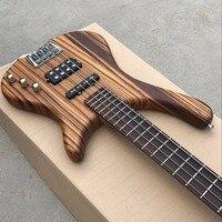 Заводская 4 струны бас гитары, палисандр гриф, Зебра дерево тела, chrome аппаратные средства, настоящая фотография