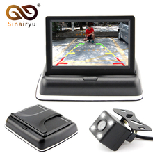 Sinairyu Auto Parking Assistance LED Night Vision Car CCD Rear View Camera With 4.3 inch Color Car Video Foldable Monitor Camera