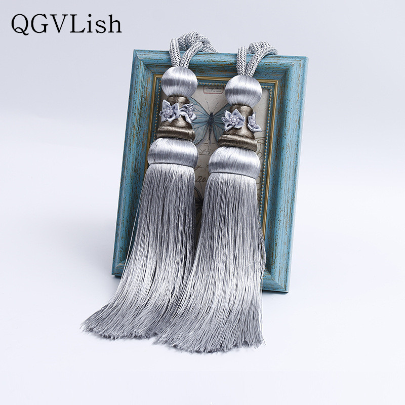 QGVLish 2Pcs Curtain Tassel Fringe Tiebacks Straps Hanging Belt Ball Curtain Accessories Brush Bind Buckle Curtain Holder Decor