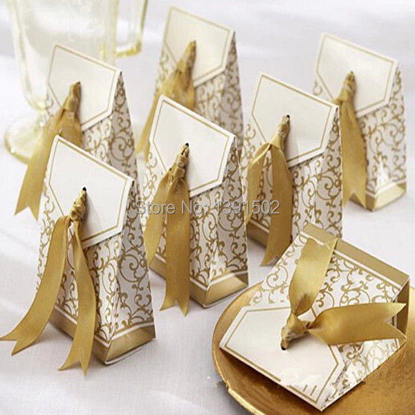 Sale Gold&Silver Ribbon Wedding favor box Party Candy Box Favor Gift ...