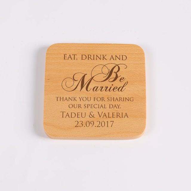 Personalized Drink Coaster Square Wood Wedding Favor Decoration Table Coasters For Drinks Set