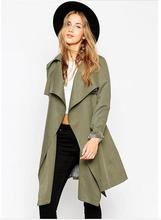 Autumn Winter Fashion Women Olive Green Trench Coat Long sleeve Overcoat Casual Windbreaker Female Outwears Trench Coats