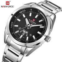 Marca naviforce hombres Relojes de cuarzo de negocios 30M impermeable Relojes hombres de banda de acero inoxidable Relojes de pulsera con fecha automática Relojes