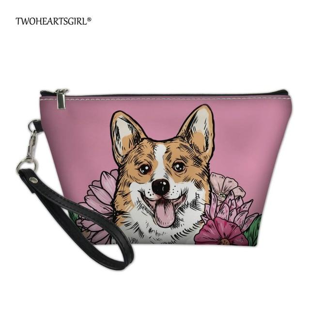 904a34867792 US $7.99 20% OFF|Twoheartsgirl Zipper Women Makeup Bag Corgi Make Up Bag  Waterproof Cosmetic Storage Travel Necessity Beauty Case Wash Pouch-in ...