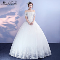 modabelle Bridal 2018 Cheap White Tulle Appliques Lace Up Ball Wedding Dresses With Short Sleeves Boat Neck Bridal Gown