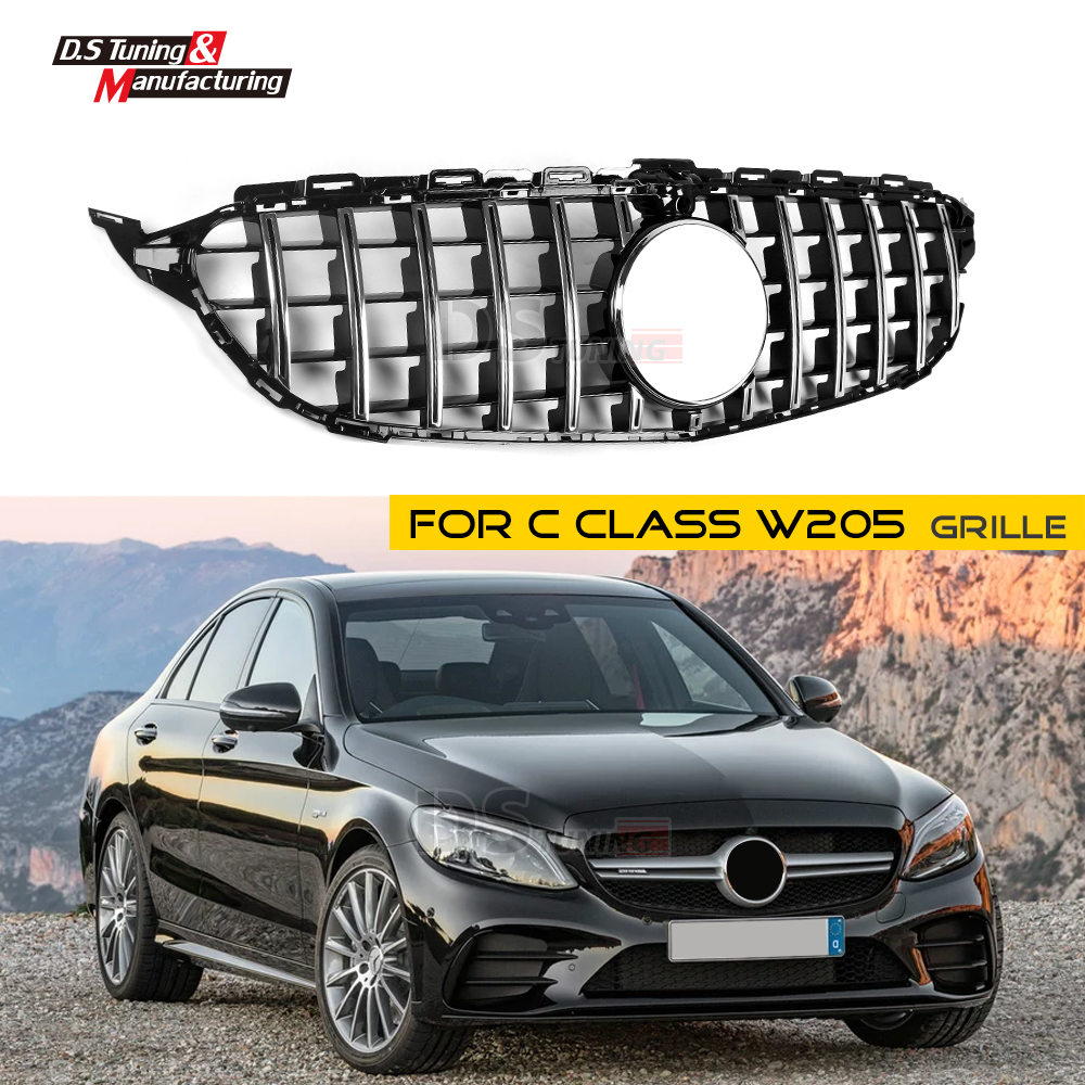 W205 GT R Mesh Grille with Camera for Mercedes C Class ABS Front Bumper Grill Sports for Benz C43 C250 C300 C350 no Emblem 2015+W205 GT R Mesh Grille with Camera for Mercedes C Class ABS Front Bumper Grill Sports for Benz C43 C250 C300 C350 no Emblem 2015+