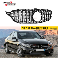 W205 GT R Mesh Grille with Camera for Mercedes C Class ABS Front Bumper Grill Sports for Benz C43 C250 C300 C350 no Emblem 2015+