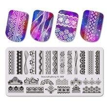 Beautybigbang кружева сексуальный стиль ногтей штамповки пластины для лак для ногтей трафарет шаблон штамповки пластины carimbo де unha дизайн ногтей