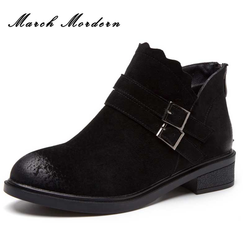 March Mordern Women Ankle Boots Fashion Square Med Heel Women Boots Sexy Ladies Stretch Fabric Boots Genuine Leather Boots