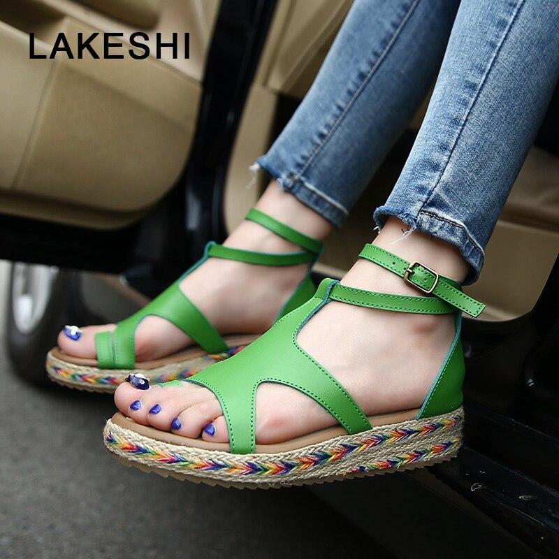 Lakeshi женские босоножки модные соломенные Обувь женские летние сандалии на танкетке Ремешок на щиколотке Повседневное Летние туфли на плоской подошве
