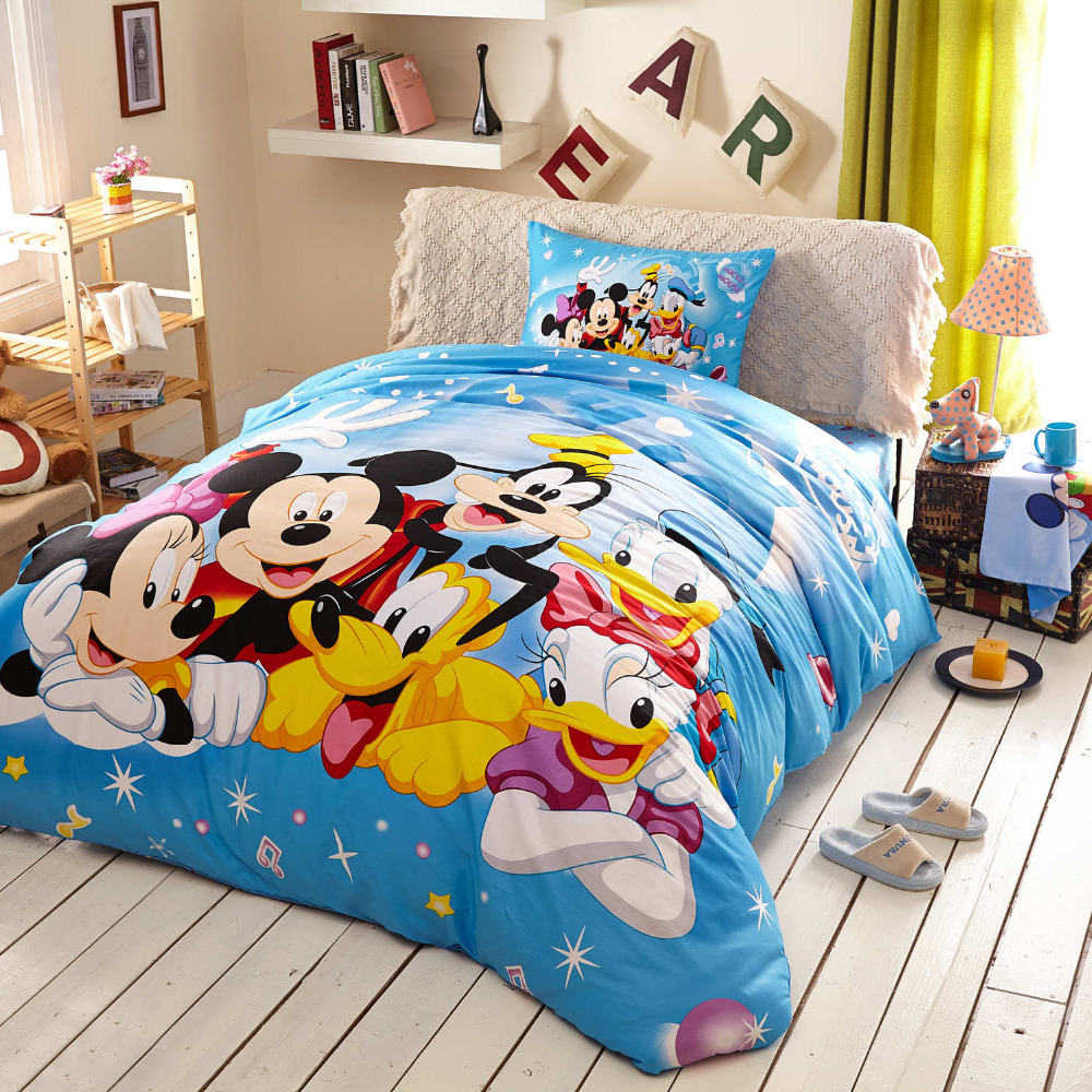 Happy Minnie Mickey Mouse cartoon printed bedding sets kids twin queen king  blue cotton duck comforter. Popular Mickey Mouse Comforter Sets Buy Cheap Mickey Mouse