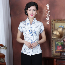 Traditional Chinese Shirt Women's Tencel Tops Size M to 3XL