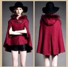 Excessive High quality 2015 Spring Autumn Ladies Women Fur Hooded Wool Coats New Vogue Cape Wool Coat Black Cloak Coat Outerwear H4628