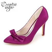 Creativesugar bout pointu bowtie femme de haute talon satin robe chaussures dames partie de bal de mariage pompes rouge violet bleu blanc ivoire