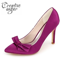 Creativesugar pointed toe bowtie woman's high heel satin dress shoes ladies party wedding ball pumps red purple blue white ivory