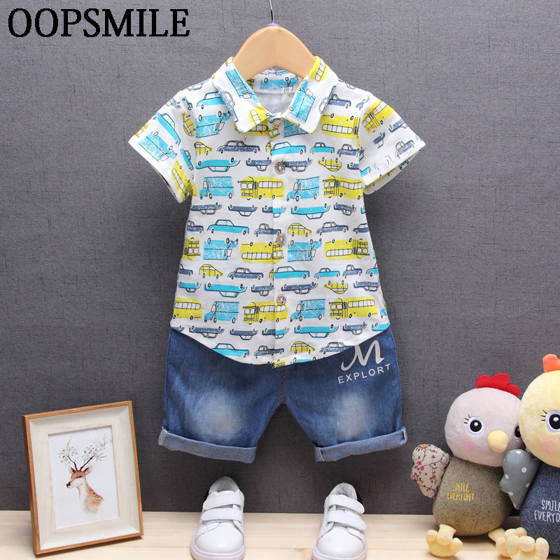 New Summer baby boy children clothing sets suit cartoon car shirt+denim jeans shorts 2pcs boys set casual suit roupas de bebe