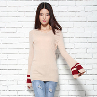 2017 Spring Autumn NEW Cashmere Blend Ladies V Neck Knit Sweaters Fashion Lace Long Sleeve Knitted